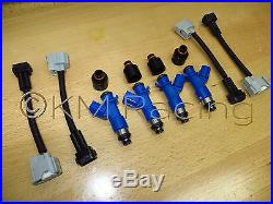 4x New Acura RDX 410cc Fuel Injectors withPlug & Play Adapters & Hats for Honda