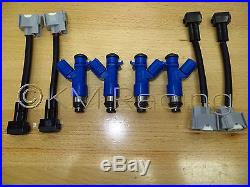 4x New OEM Denso Acura RDX 410cc Fuel Injectors withPlug & Play Adapters for Honda