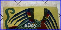 Art Deco Chinese Tibetan DRAGON & PHOENIX ZEN Pictorial H/K Peking Rug 6'6x3