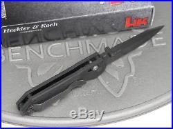 Benchmade H&K 14716BK Axis Mini Black G10 D2 Folding Knife Heckler Koch USA