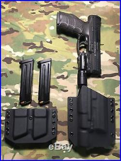 Black Kydex Light Holster H&K HK VP9 Surefire X300 Ultra A withDual Mag Carrier