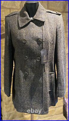 Coathouse Harris Tweed Hand Woven Pure New WooL Ladies Peacoat Si 12,14,16,18,20