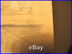 Erotische originale farbige Hand Zeichnung H. K. (19)12 Auf der Kammer