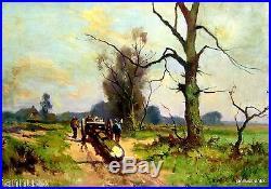 Exquisites Ölgemälde von H. K. Poeder Männer beim Bäume rücken Künstlerarbeit