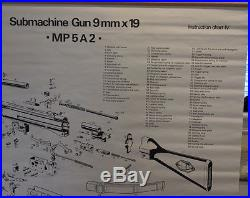 H&K Heckler Koch MP5 wall chart poster Very Rare Vintage