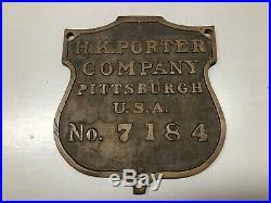 H K Porter, Brass Steam Locomotive Builders Plate, Vintage Railroad, Dated