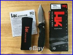 HK Heckler Koch Exemplar 54156 Plain Hogue Black G10 Pocket Knife Made in USA