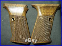 HK P7 M8 ONLY Fine English Walnut Checkered Pistol Grips WITH LOGO NEW