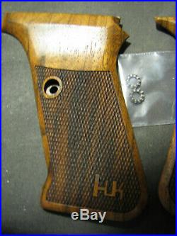 HK P7 PSP Walnut Checkered Pistol Grips WithLOGO FOR FLUSH MAG RELEASE ONLY! NEW
