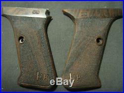 HK P7 PSP Walnut FULLY Checkered Pistol Grips FOR FLUSH MAG RELEASE ONLY! W-LOGO