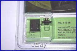 Heckler & Koch Hk P7m8/p7m10 Night Sight Set Meprolight Sights Front/rear New