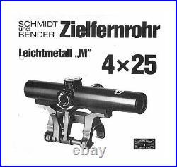 RARE Schmidt & Bender 4x25 Rifle Scope Hensoldt Heckler Koch