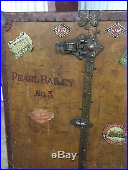 RARE Singer/Actress Pearl Bailey Antique H&K Wardrobe Steam Trunk Hanging Rods