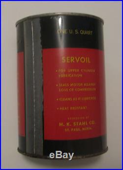 RARE VINTAGE SERVOIL MOTOR OIL ADVERTISING OIL CAN ST PAUL H. K. STAHL Co
