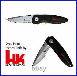Taktisches Messer Heckler und Koch Drop Point Linerlock Clip Klinge aus X-15T. N