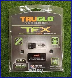 TruGlo TFX Pistol Night Sights H&K VP9 VP40 P30 Tritium/Fiber Optic TG13HP1A