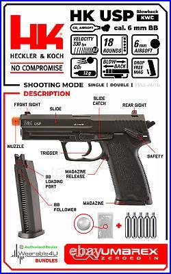Umarex H&K USP KWC C02 Blowback AirSoft BB Pistol and CO2 Tanks and BBs Bundle