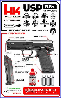 Umarex HK Heckler & Koch USP. 177 CO2 Air Pistol BB with 5xCO2 Tanks and 1500 BBs