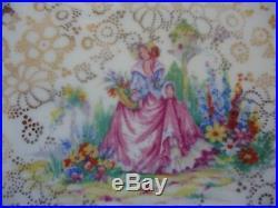 Vintage pinkie crinoline lady h&k tunstall tea set 6 cups & saucers trios deco